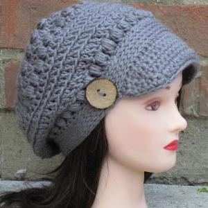 b8604a3b7e6 CROCHET HAT PATTERN - Brooklyn Newsboy Hat Slouchy Beanie Women Teen ...