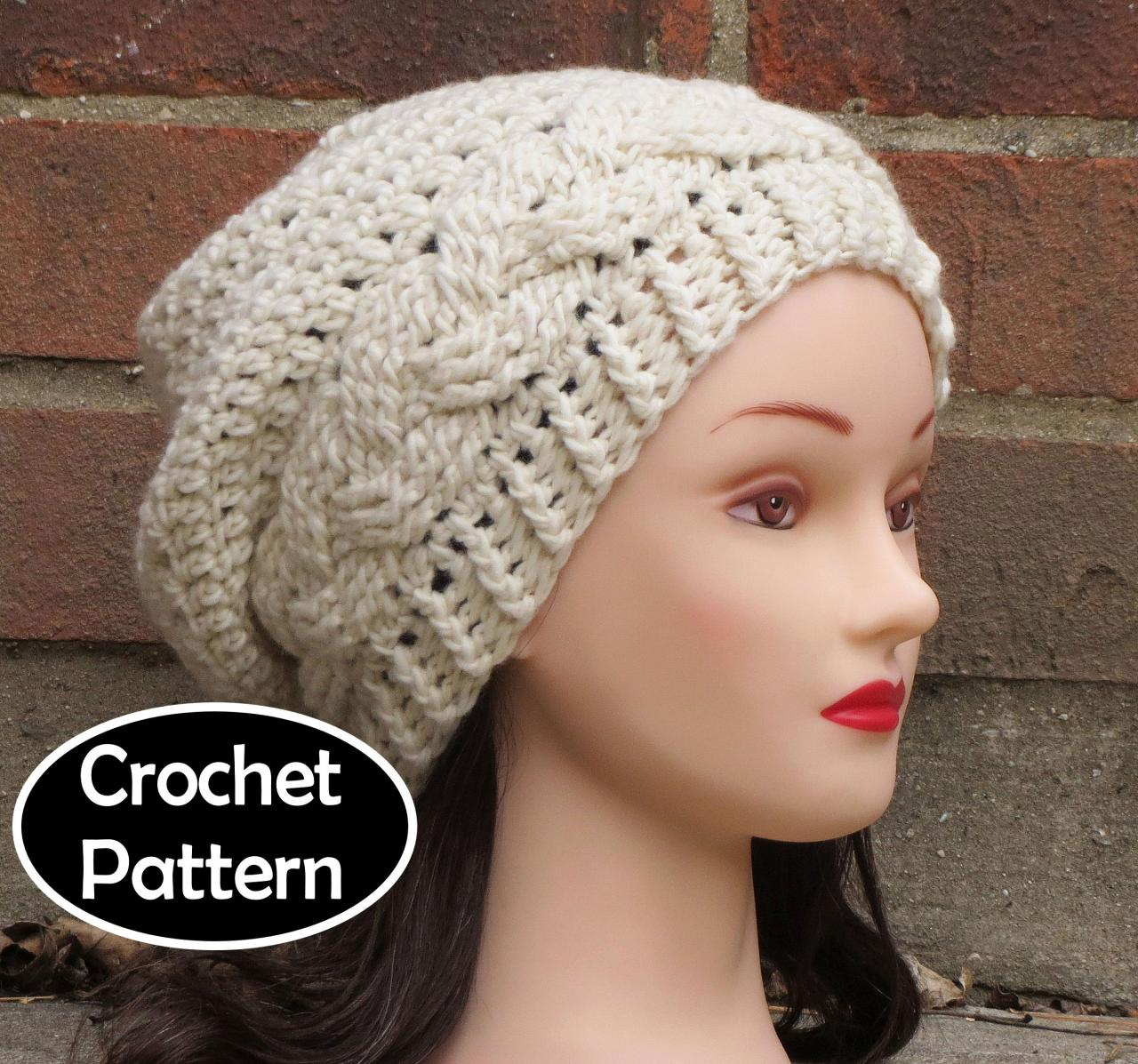cb691b37e80e8 CROCHET HAT PATTERN - JULIA Slouchy Beanie Hat Fall Winter Braid Cabled PDF  Pattern Women Teen