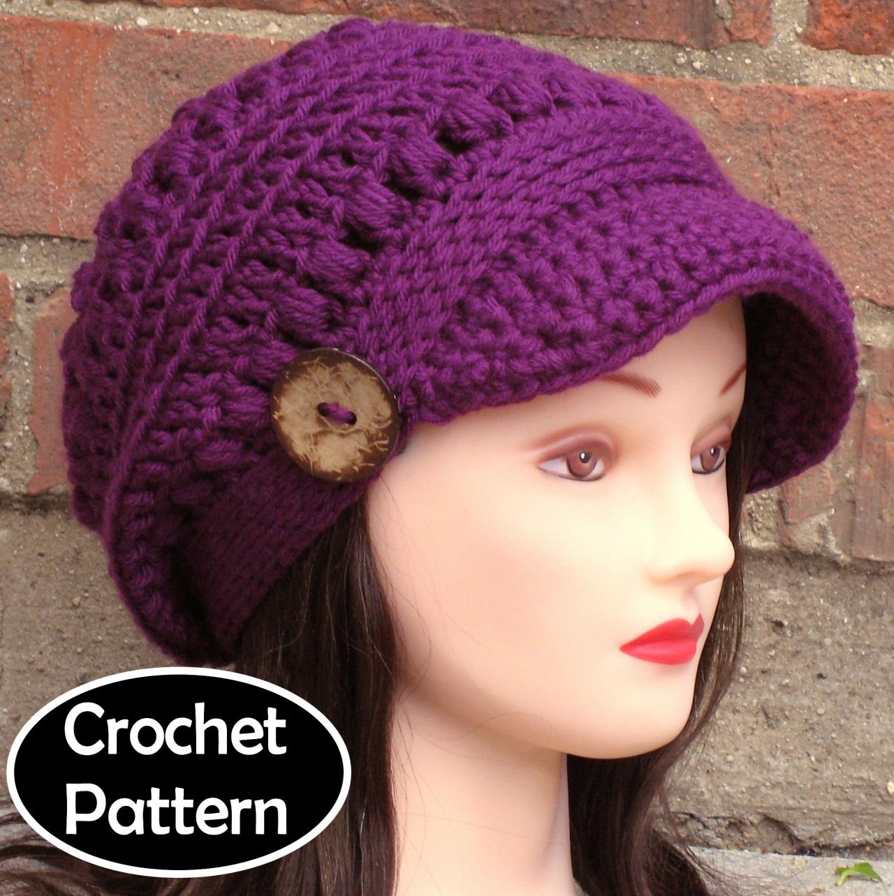 4f7c47db7b51a CROCHET HAT PATTERN - Brooklyn Newsboy Hat Slouchy Beanie Women Teen Fall  Winter PDF Pattern