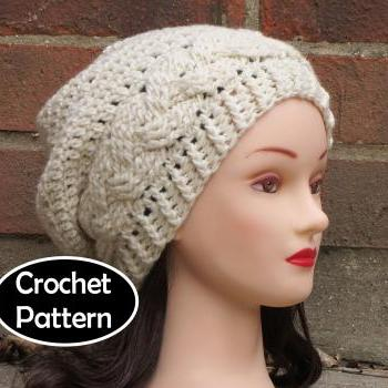 ... CROCHET HAT PATTERN - JULIA Slouchy Beanie Hat Fall Winter Braid Cabled  PDF Pattern Women Teen f5eb1b8af91