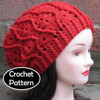 CROCHET HAT PATTERN - Maddie Slouchy Beret Beanie Cabled Hat Women Teen Fall Winter PDF Pattern