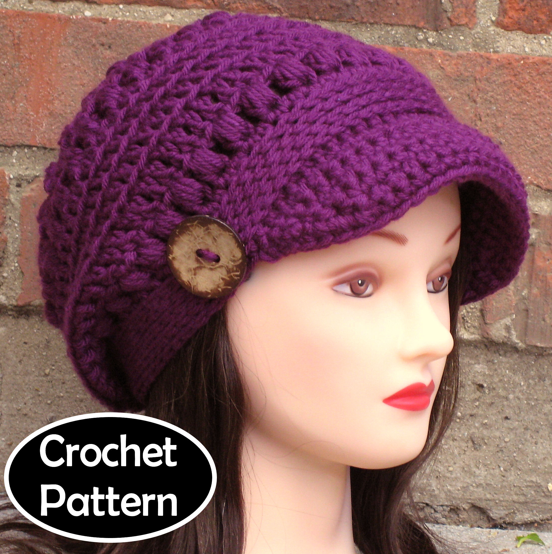 Crochet Hat Pattern Brooklyn Newsboy Hat Slouchy Beanie Women Teen