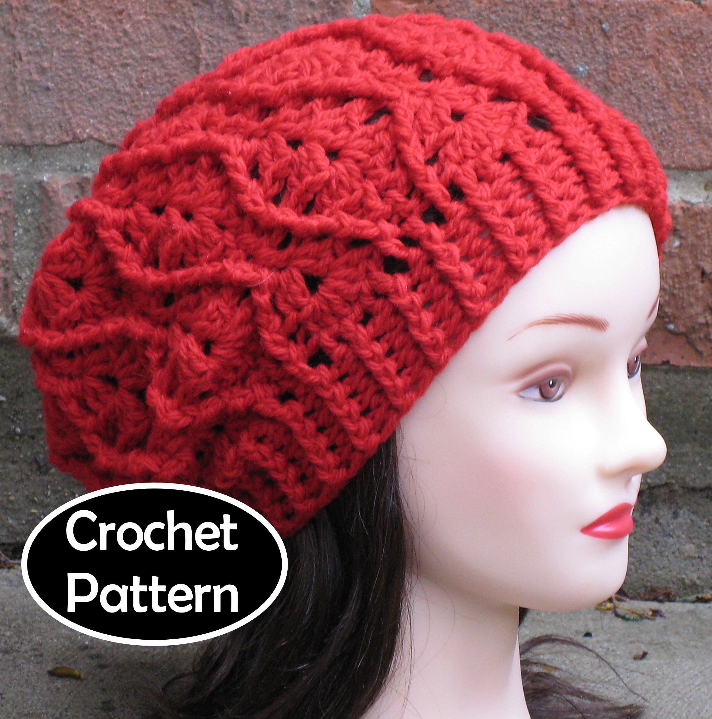 Crochet Hat Pattern Maddie Slouchy Beret Beanie Cabled Hat Women